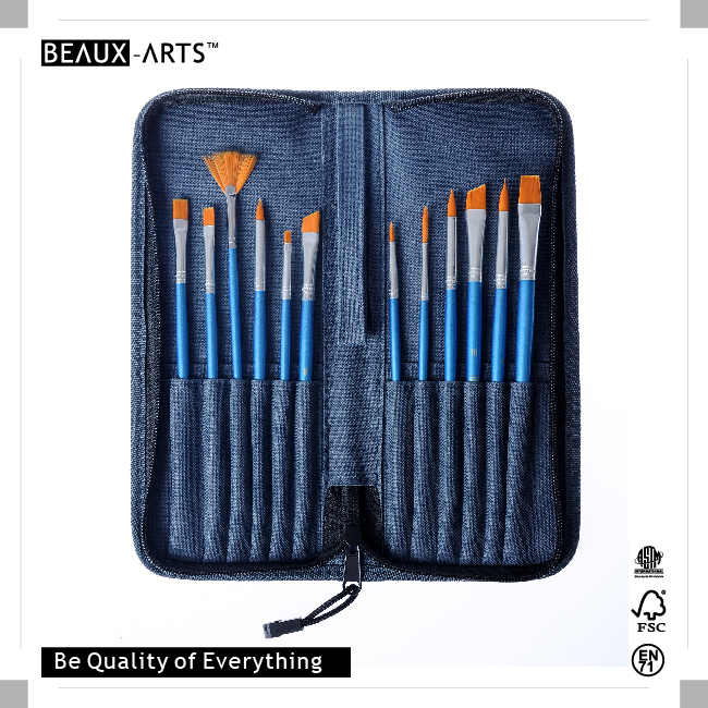 12pcs Synthetic Hair Brushes with Wooden Handle in Pouch