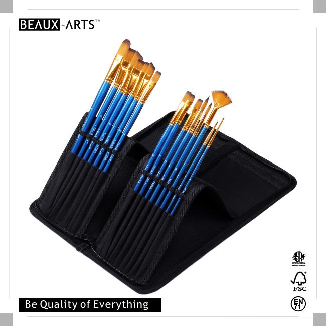 15 Pcs Paint Brushes set with a Brush Bag